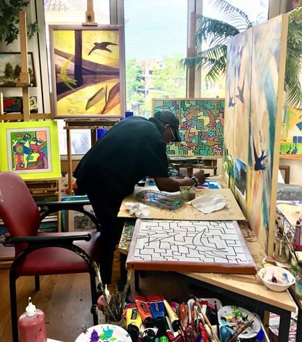 Tawan Ntar maakt mooi schilderij
